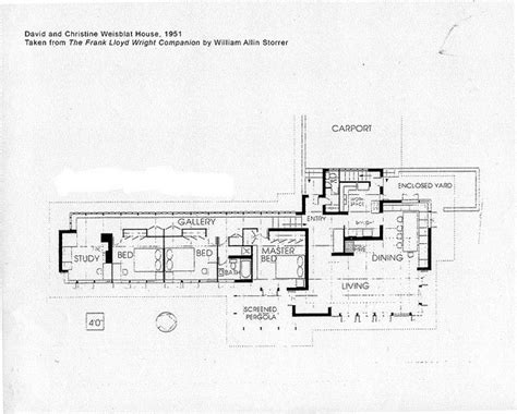 frank lloyd wright plans david and christine weisblat house plan 1951 frank