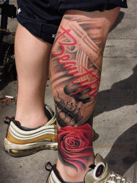 rose tattoo on calf badass leg graffiti calf on tattoochief