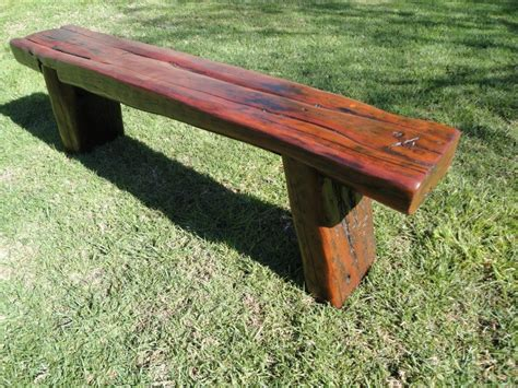 outdoor bench seat one red deer made by hand