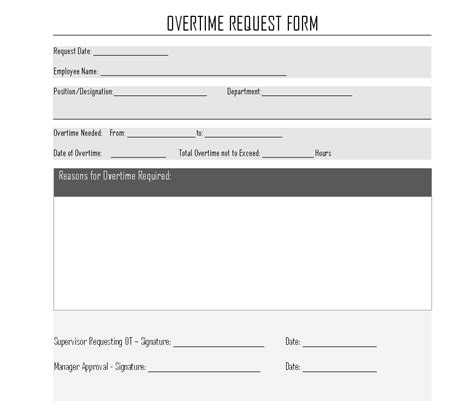 request for exle overtime request form format sles word document