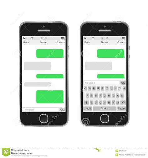 free sms message to mobile phone smartphone chatting sms messages speech bubbles stock