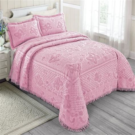 pink coverlets full 100 cotton chenille pink spring butterflies