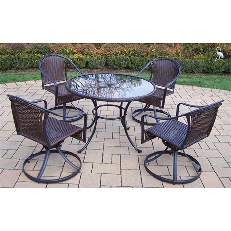 resin wicker patio dining sets oakland living elite tuscany resin wicker swivel patio
