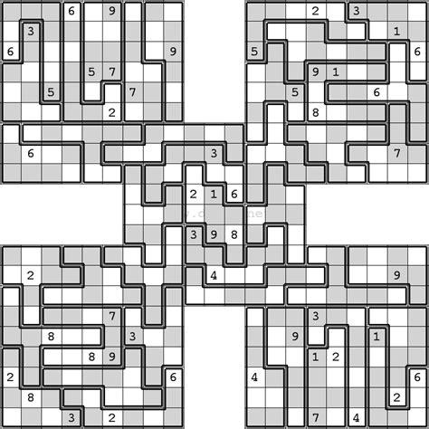 printable jigsaw sudoku puzzles free oddeven jigsaw samurai sudoku