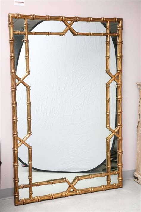 vintage huge mirror faux bamboo frame gilt can lean