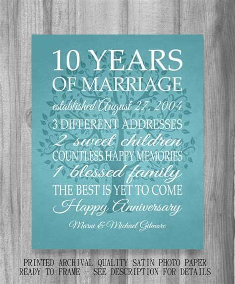 25 Ten Year Wedding Anniversary by 10 Year Anniversary Gift Print Wedding Anniversary