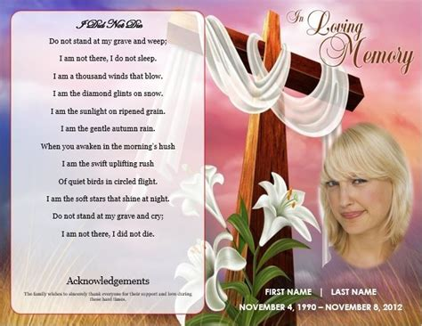 funeral cards templates 1000 images about printable funeral program templates on