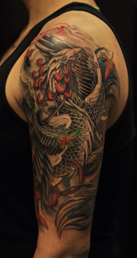 phoenix half sleeve tattoo men s tattoos pinterest