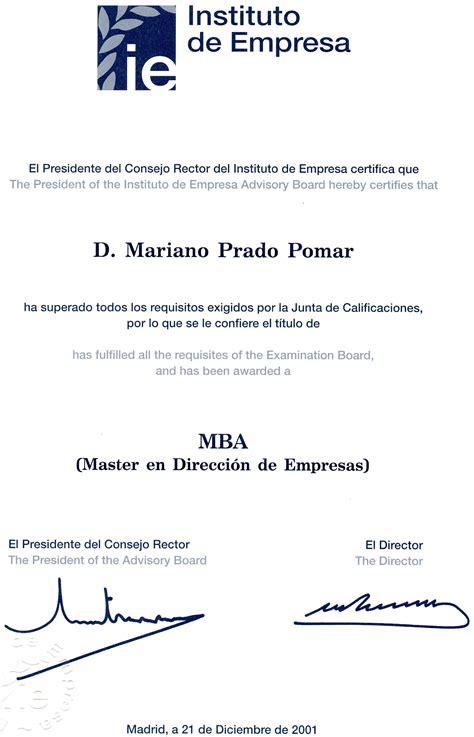 Ie Brown Mba Diploma by Cv Mariano Prado