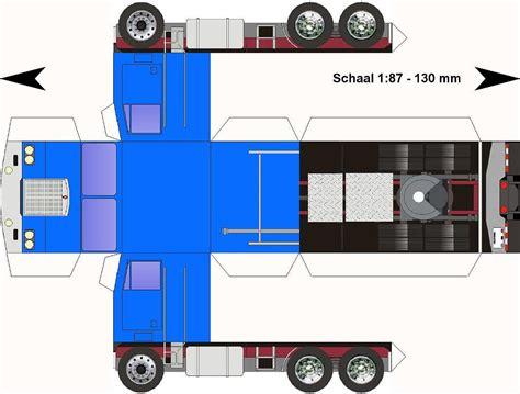 paper truck kenworth lorry papercraft kenworth k123 blauw paper trucks