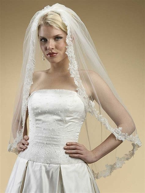 Wedding Veil by Ivory Or White Alencon Vintage Embroidered Mantilla Lace