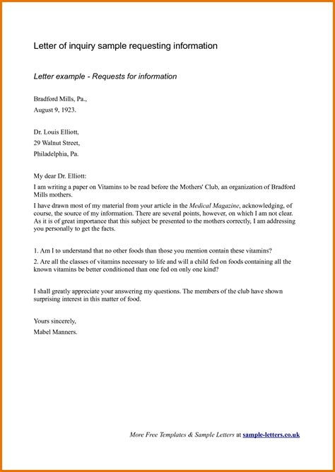 business letter template inquiry business inquiry letter sle for requesting information