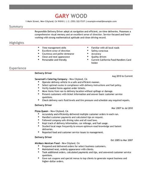 Delivery Driver Resume Examples   Food & Restaurant Resume