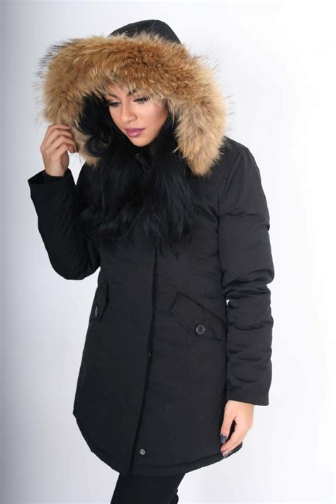 black dolly coat gabriella black coat with large raccoon fur