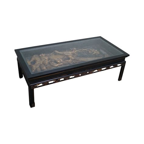 antique black gold asian coffee table chairish