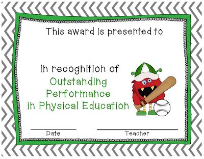 physical education certificates samweiss dayley supplements outstanding performance in physical