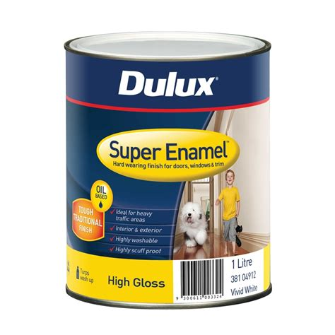 gloss paint dulux super enamel 1l high gloss vivid white enamel paint