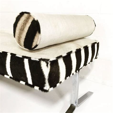 zebra hide bench modern chrome bench with ivory cowhide and zebra hide for
