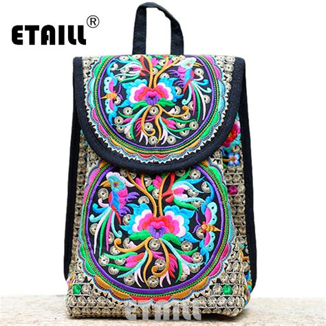 Embroidery Canvas Backpack floral embroidered canvas backpack national trend