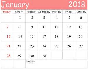 Calendar 2018 Template January January 2018 Personalised Calendar Free