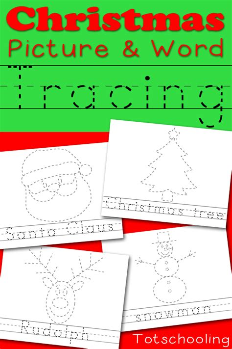 printable christmas activities for preschoolers christmas picture word tracing printables totschooling