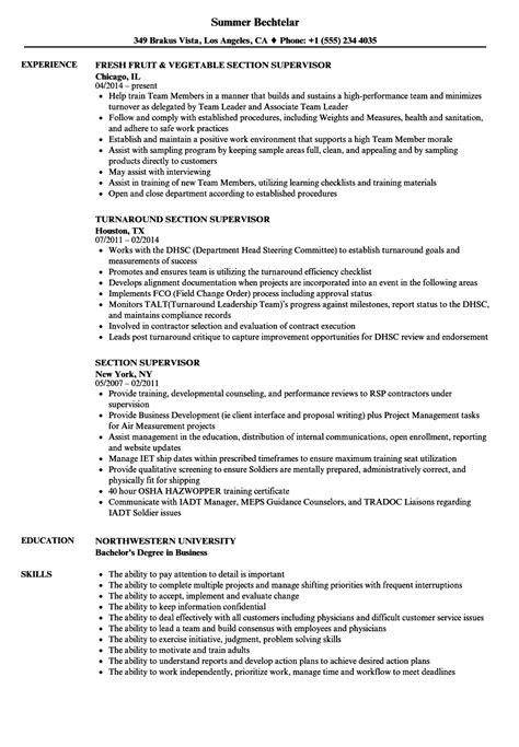 section supervisor section supervisor resume sles velvet jobs