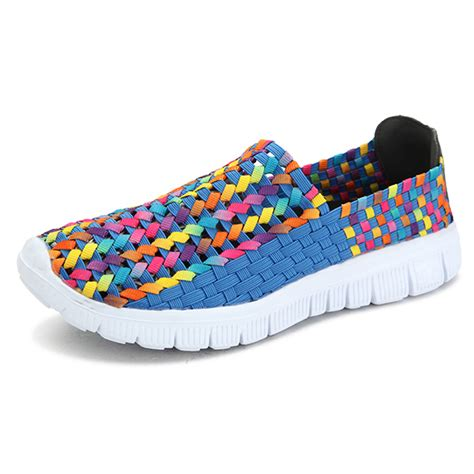 colorful shoes big size summer breathable sneakers knit flat