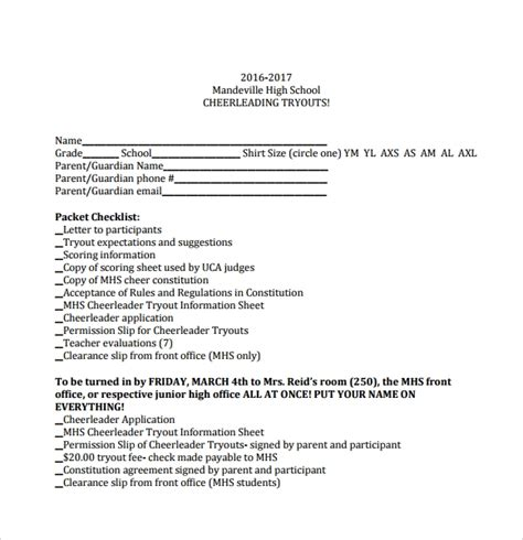 Sle Cheerleading Tryout Score Sheet 4 Documents In Pdf Cheerleading Registration Form Template
