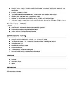 Powerline Worker Cover Letter by Power Line Technician Resume Sle Resumes Design