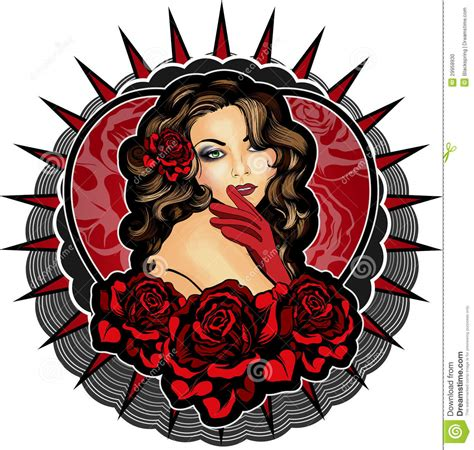 vintage lady tattoo designs vintage style with roses stock photo image