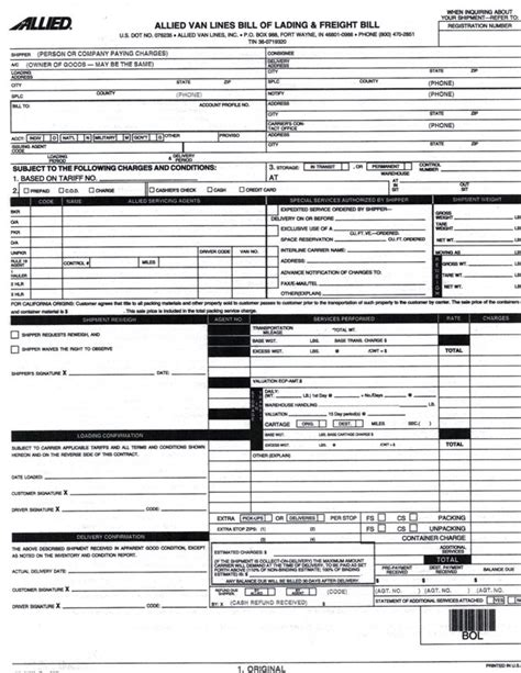 Bill Of Lading When Hiring Movers Columbine Moving Moving Bill Of Lading Template