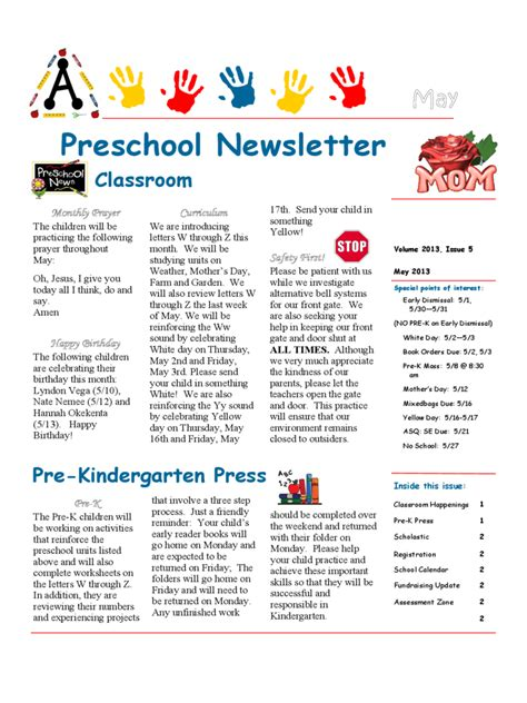 newsletter template doc preschool newsletter template 4 free templates in pdf