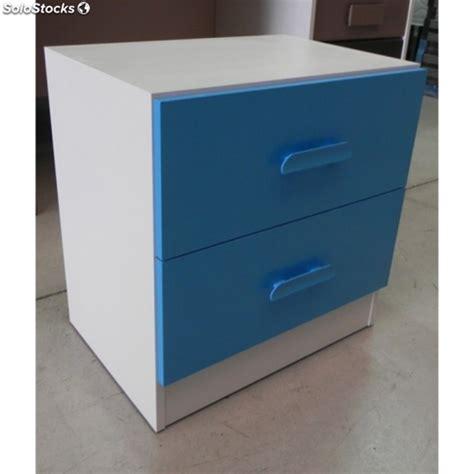 mesita de noche infantil blanca mesita de noche blanca 2 cajones azules para dormitorio