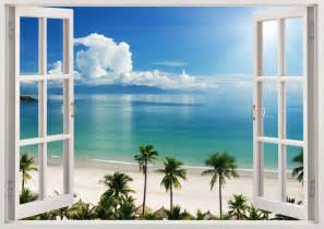 wall murals beach 3d window decal wall sticker home decor exotic beach view