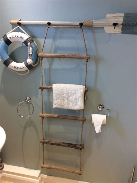military bathroom decor new nautical driftwood rope ladder towel rail 5 rung