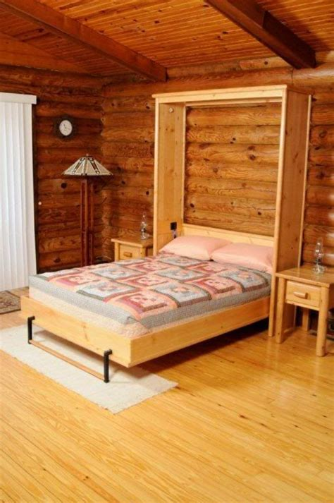 knotty pine murphy bed opened bunk beds built