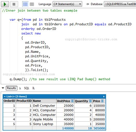 inner join select query sql joins with c linq