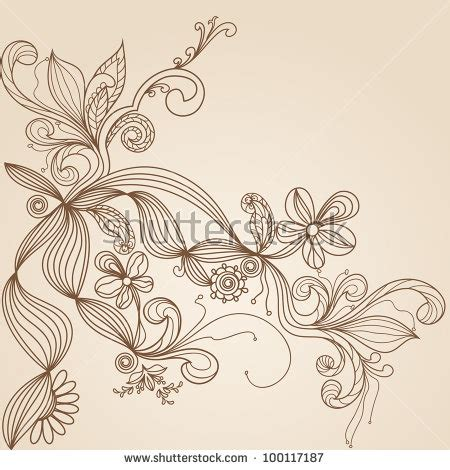 floral pattern hand drawing seamless abstract floral background leaves stock vector