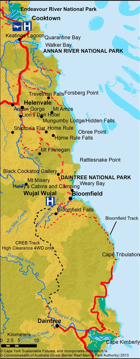 track your trip on a map creb track tourism cape york