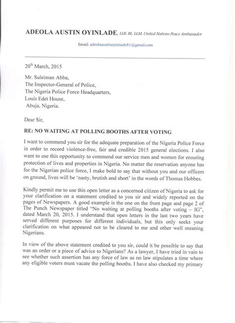Response Letter Of Clarification Letter To Igp By United Nations Peace Ambassador Adeola Oyinlade Asking For