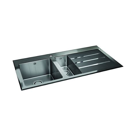 Wickes Kitchen Sinks Wickes 1 5 Lhd Bowl Kitchen Stainless Steel Sink Drainer With Black Glass Wickes Co Uk