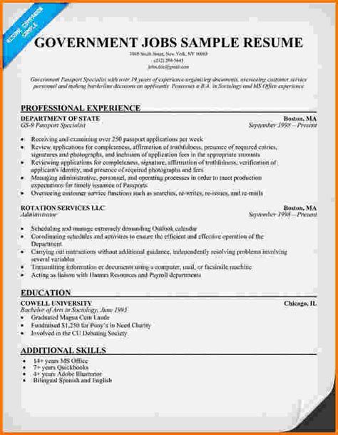 format templates gov 10 federal government resume sles financial