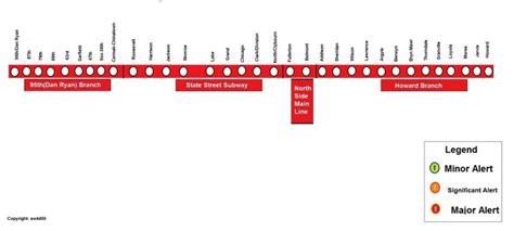 chicago redline map cta rail service alerts cta rail chicago transit forum