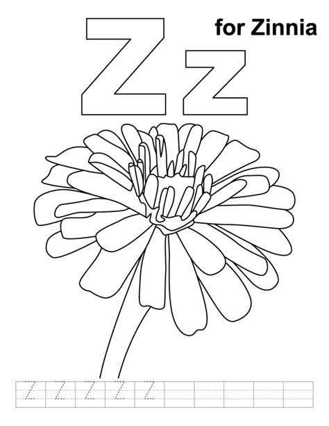 Coloring Page Zinnia z for zinnia coloring page with handwriting practice