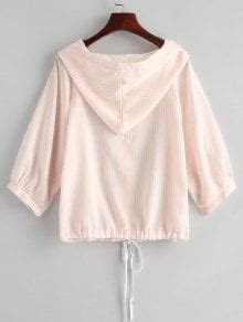 Striped Hooded Blouse button up striped hooded blouse pink blouses s zaful