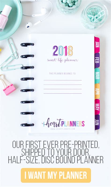the sweet life printable planner 2018 sweet life planner i heart planners