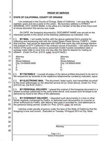 proof of service template proof of service california iwork lawyer