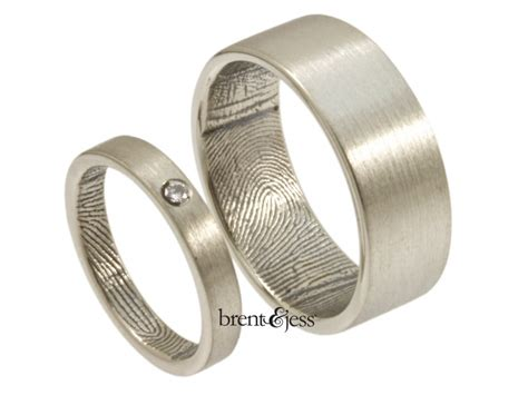 wrapped fingerprint wedding ring set in sterling silver