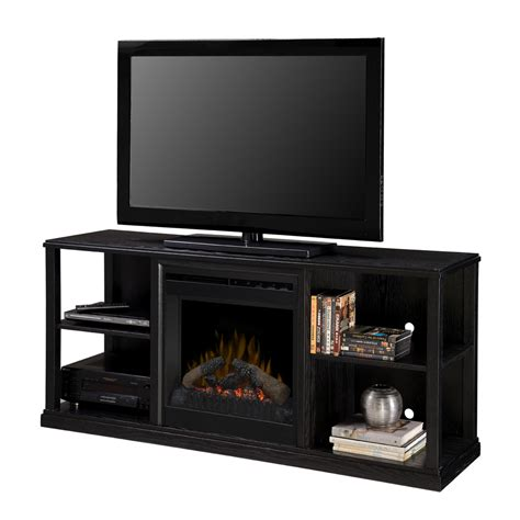 Media Electric Fireplace Lowes by Shop Dimplex 61 In W Black Ash Wood Media Console Electric Fireplace With Thermostat And Remote