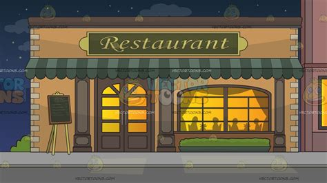 Orange Awning Outside A Fancy Restaurant Background Cartoon Clipart